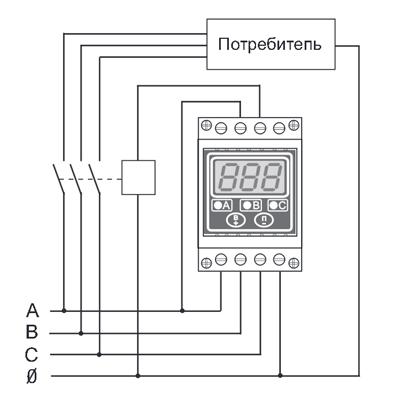 схема подключения трехфазного реле